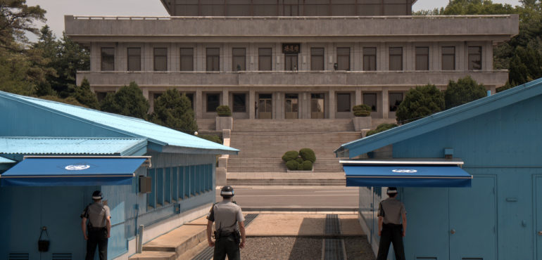 Panmunjon, Korean Republic - May 17, 2014: Joint Security Area in Panmunjon, Korean Republic. This is the border between the two Koreas.